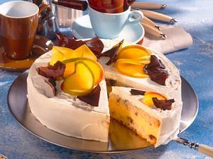 Mango-Torte mit Schoko-Biskuit und Sektcreme Rezept