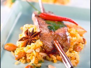 Marinierte Lammspieße auf orientalischem Reis Rezept