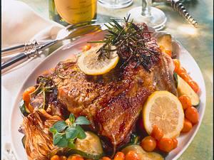Marinierter Schweinenacken mit Karotten-Zucchini-Schalottengemüse Rezept