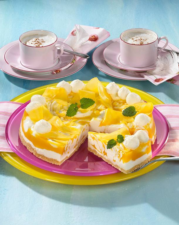 marmorierte mango joghurt torte rezept lecker. Black Bedroom Furniture Sets. Home Design Ideas