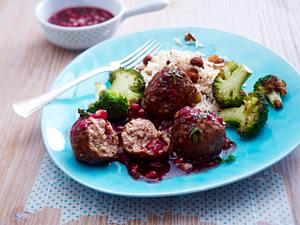 Marokkanische Lamm-Hackbällchen mit Granatapfelsoße & Mandelreis Rezept