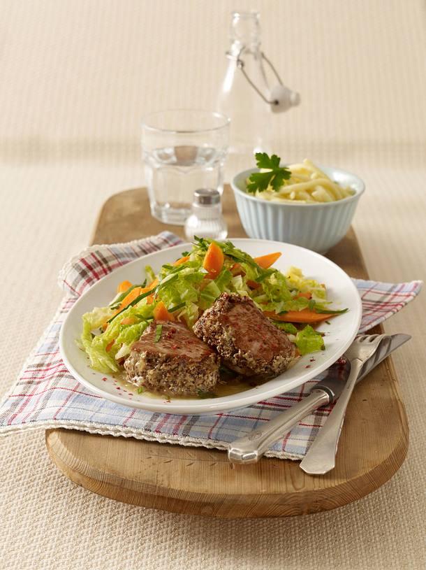 Medaillons zu Wirsing-Möhren-Gemüse und Spätzle Rezept