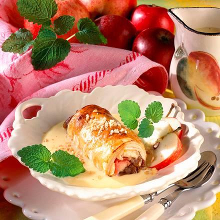 Mini-Apfelstrudel mit Vanillesoße Rezept