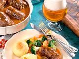 Mit Stockschwämmchen gefüllte Rouladen und Thüringer Knödel Rezept
