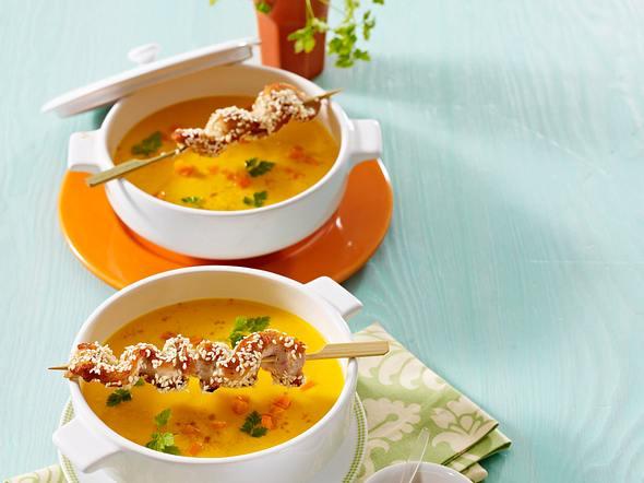 Möhren-Ingwersuppe mit Sesamhähnchen Rezept
