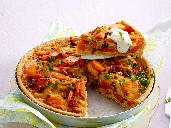 Möhren-Tomaten-Quiche Rezept
