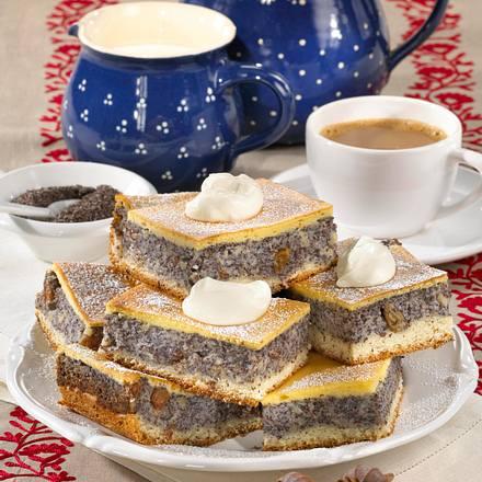Mohnkuchen mit Eierschecke Rezept