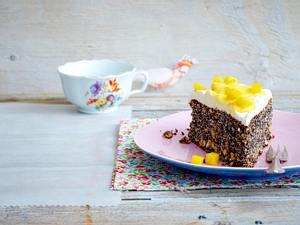 Mohnkuchen mit Vanillepudding-Topping Rezept