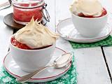 Monmouth pudding (Waliser Pudding mit Rhabarber-Kompott und Baiserhaube) Rezept
