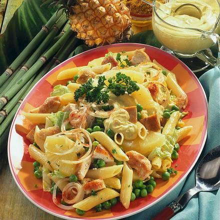 Nudel-Salat mit Ananas-Currysoße Rezept