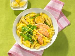 Nudeln mit Zitronensahne und Lachs Rezept