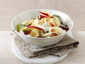 Obstsalat mit Vanillequark und Mandeln Rezept