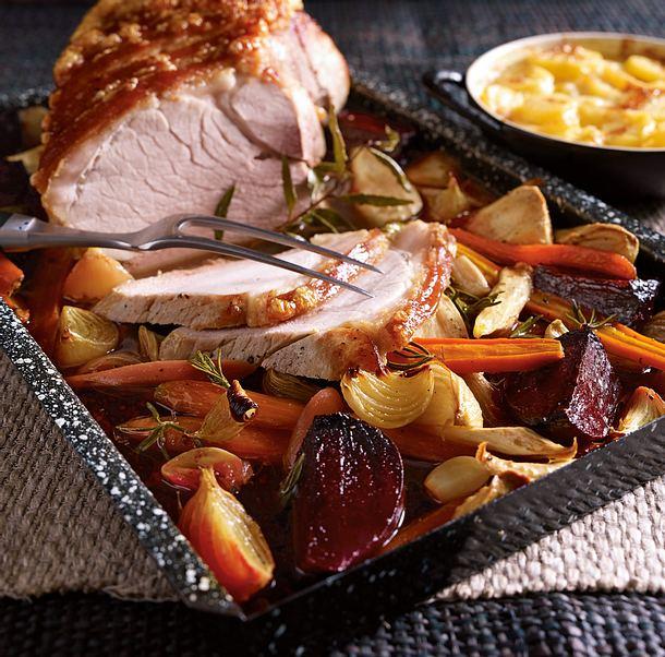 Ofengemüse zu Krustenbraten und Gratinkartoffeln Rezept
