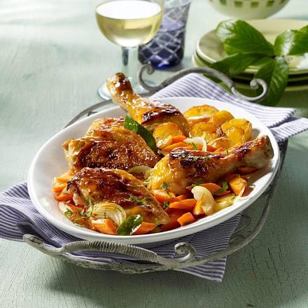 Ofenhähnchen mit Möhren und Kartoffeln Rezept