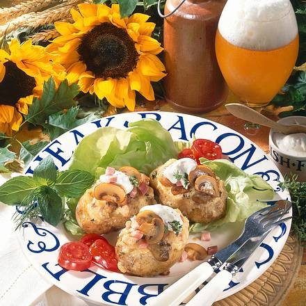 Ofenkartoffeln mit Frischkäse-Champignon-Füllung Rezept