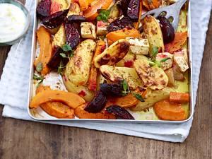 Ofenkartoffeln mit Kürbis, Rote Bete und Sellerie Rezept