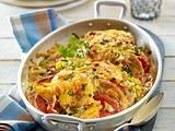 Ofenschnitzel mit Zwiebel-Porree-Rahm Rezept