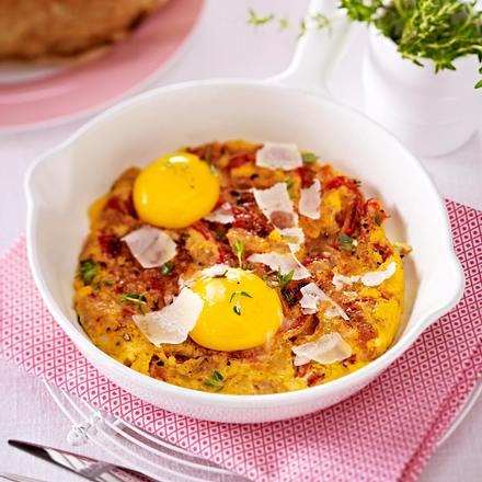 Omeletts mit gerösteter Paprika und Thunfisch  Rezept