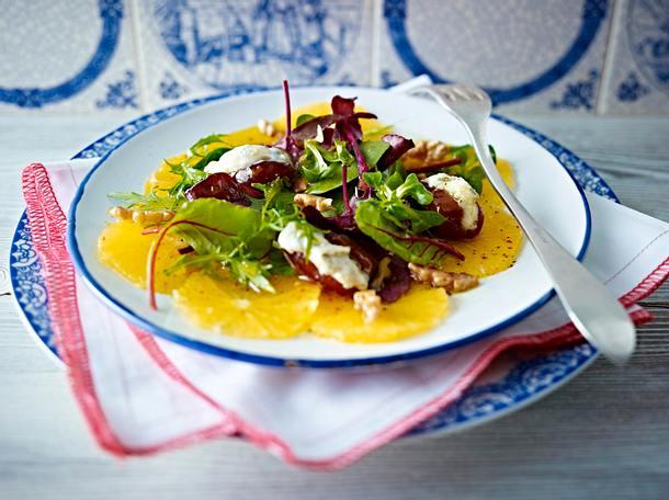 Orangen-Carpaccio mit gefüllten Datteln Rezept