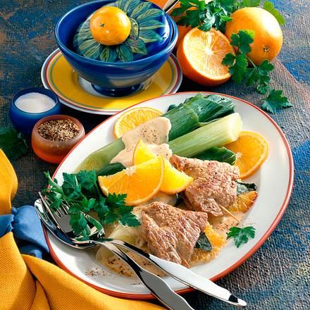 Orangen-Schnitzel mit Porree Rezept
