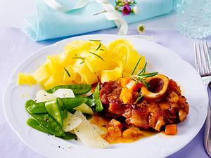 Ossobuco mit Kohlrabi, Zuckerschoten und Zitronennudeln Rezept