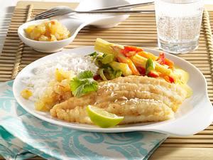 Pangasius mit Ananas-Chutney und Curry-Gemüse Rezept