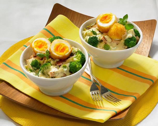 Panierte Eier in Senfsoße Rezept