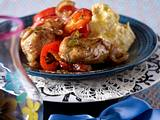 Paprika-Huhn mit Hummus (Kichererbsenmus) Rezept