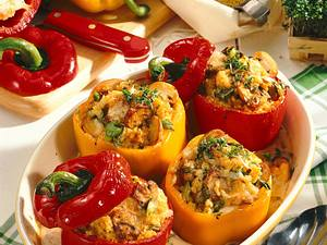 Paprika mit Hirse-Pilz-Füllung Rezept