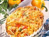 Paprika-Puten-Ragout mit Nudelkruste Rezept