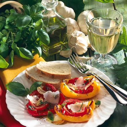 Paprika-Schiffchen mit Parmesan Rezept