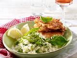 Parmesan-Schnitzelchen zu Rucola-Risotto Rezept