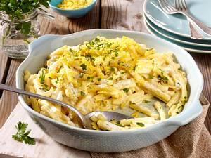 Pasta in Cashewsoße mit Tortilla-Topping Rezept