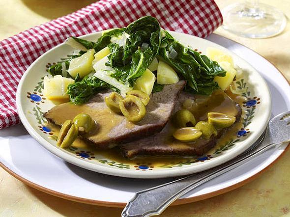 Pasticada (Dalmatinischer Rinderbraten) mit Mangold und Salzkartoffeln Rezept
