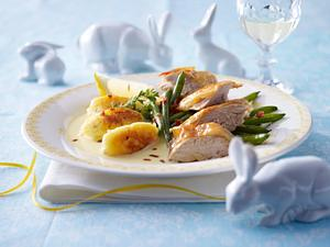 Perlhuhn mit Zitronengras-Hollandaise und Ricotta-Gnocchi Rezept