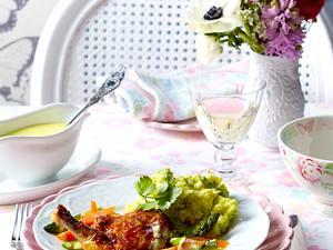 Perlhuhnbrust mit Vanille-Hollandaise und Frühlingsgemüse Rezept
