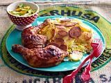 Persischer Kartoffelreis mit Hähnchenkeulen und Mango-Gurkensalat Rezept