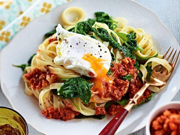 Pesto-Tagliatelle mit Spinat und pochiertem Ei Rezept