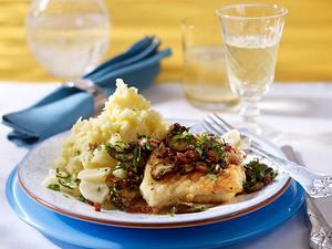 Petersilienwurzel-Kartoffel-Püree zu gebratenen Champignons und Kabeljau Rezept