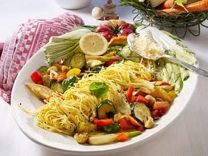 Pfannengemüse mit Spaghetti Rezept