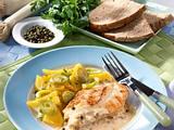 Pfeffer-Putenschnitzel mit Steckrüben-Porreegemüse Rezept