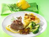 Pfeffer-Steak mit Broccoli und Kartoffelgratin (für 4 Personen) Rezept