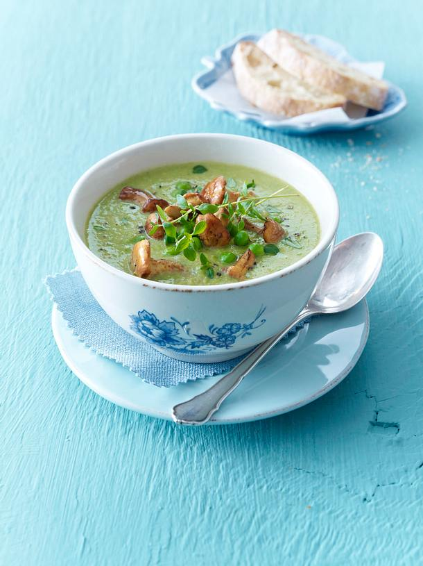 Pfifferling-Erbsen-Suppe Rezept