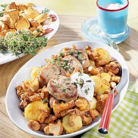 Pfifferlings-Kartoffel-Pfanne zu Medaillons Rezept