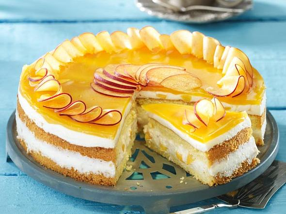 Pfirsich-Biskuit-Torte Rezept