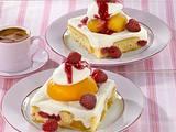 Pfirsich-Melba-Blechkuchen Rezept