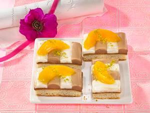 Pfirsich-Streifen-Quarkkuchen Rezept