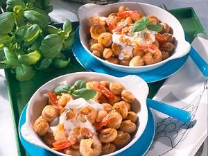 Pilz-Pfännchen mit Garnelen & Knobi-Dip Rezept