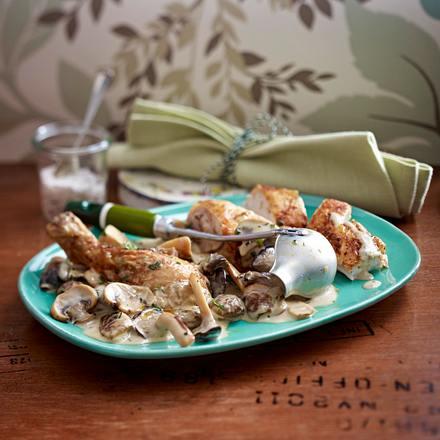 Pilz-Sherry-Frikassee zu Brathähnchen Rezept