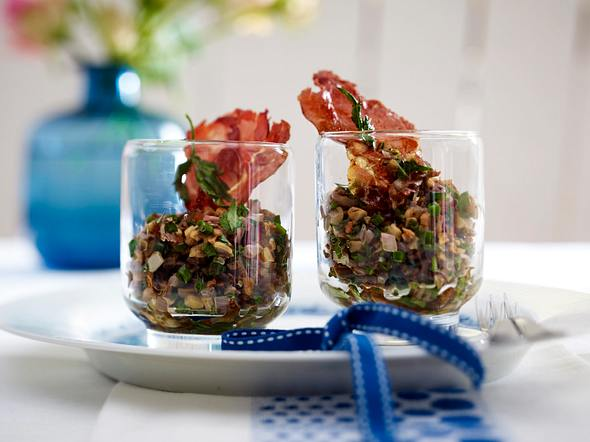 Pilztatar im Glas mit Parmaschinkenchips Rezept